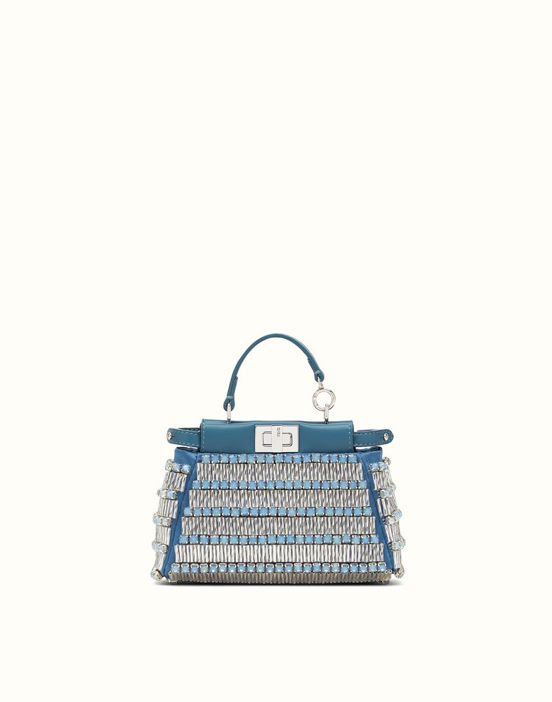FENDI | MICRO PEEKABOO in blue leather with embroidery