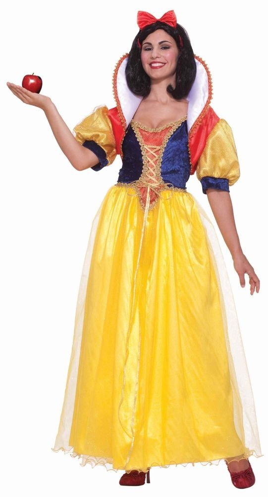 New Ladies Snow White Fairtale Long Fancy Dress Up Costume Storybook Princess