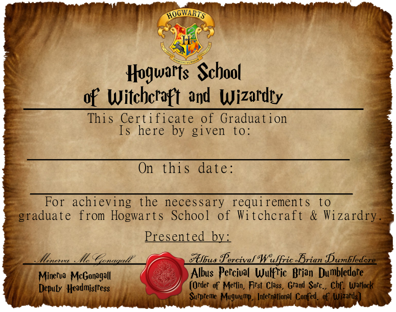 Hogwarts graduation certificate captainjackharknessiantart graduation certificate 1 yadclub Image collections