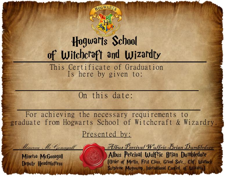 Hogwarts Graduation Certificate CaptainJackHarkness.deviantart.com ...