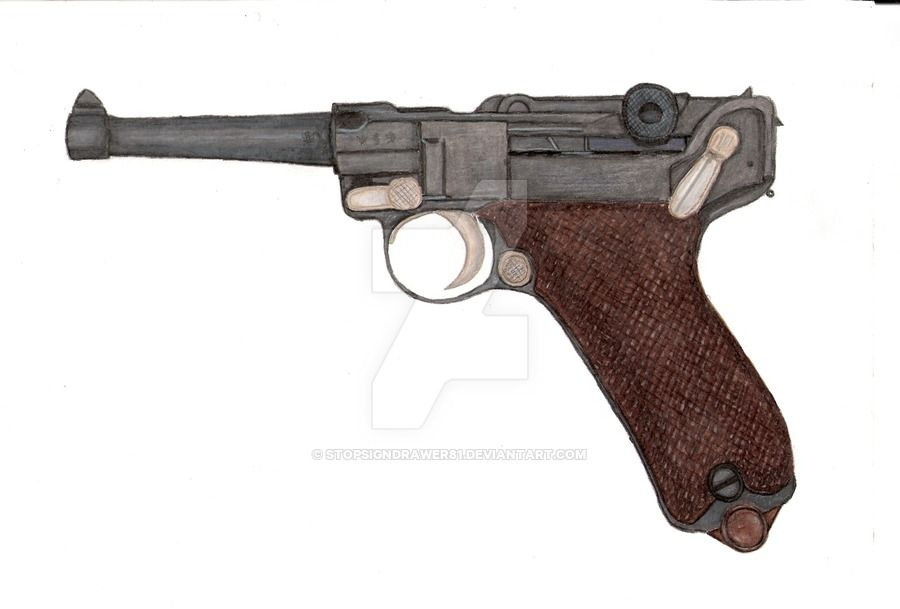 how to draw a german luger pistol