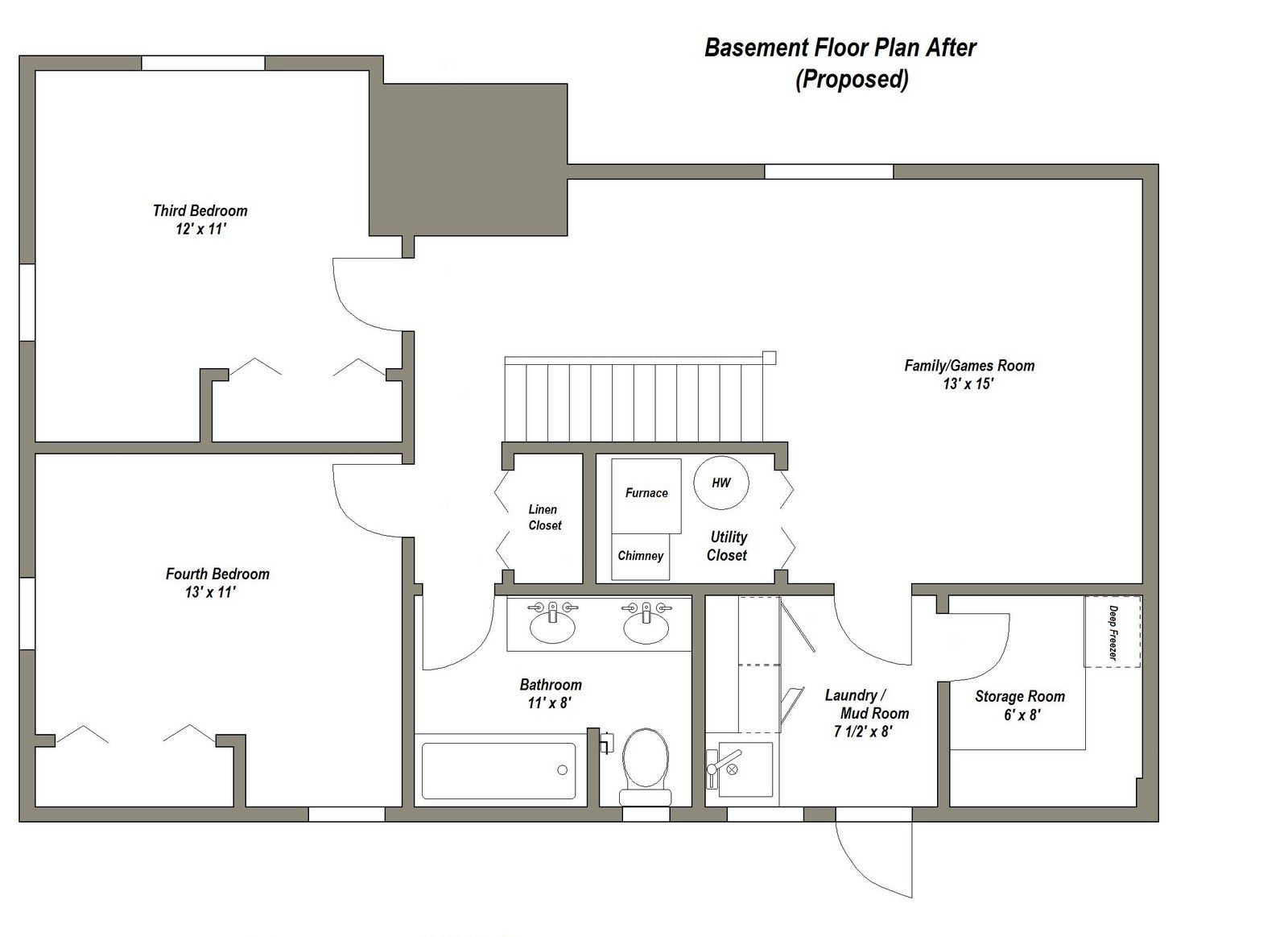 Finished basement floor plans finished basement floor for Stepped house plans