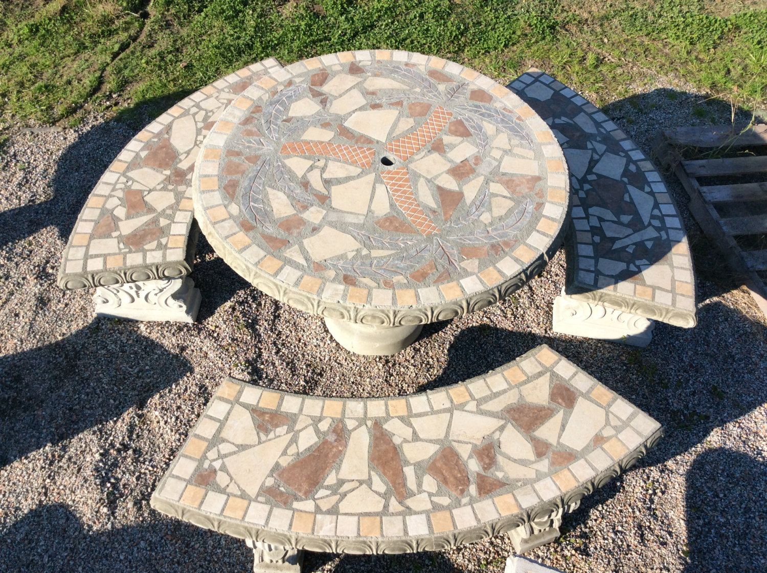 Patio Set Patio Table Outdoor Tables Mosiac Table Palm Tree - Round concrete table with benches