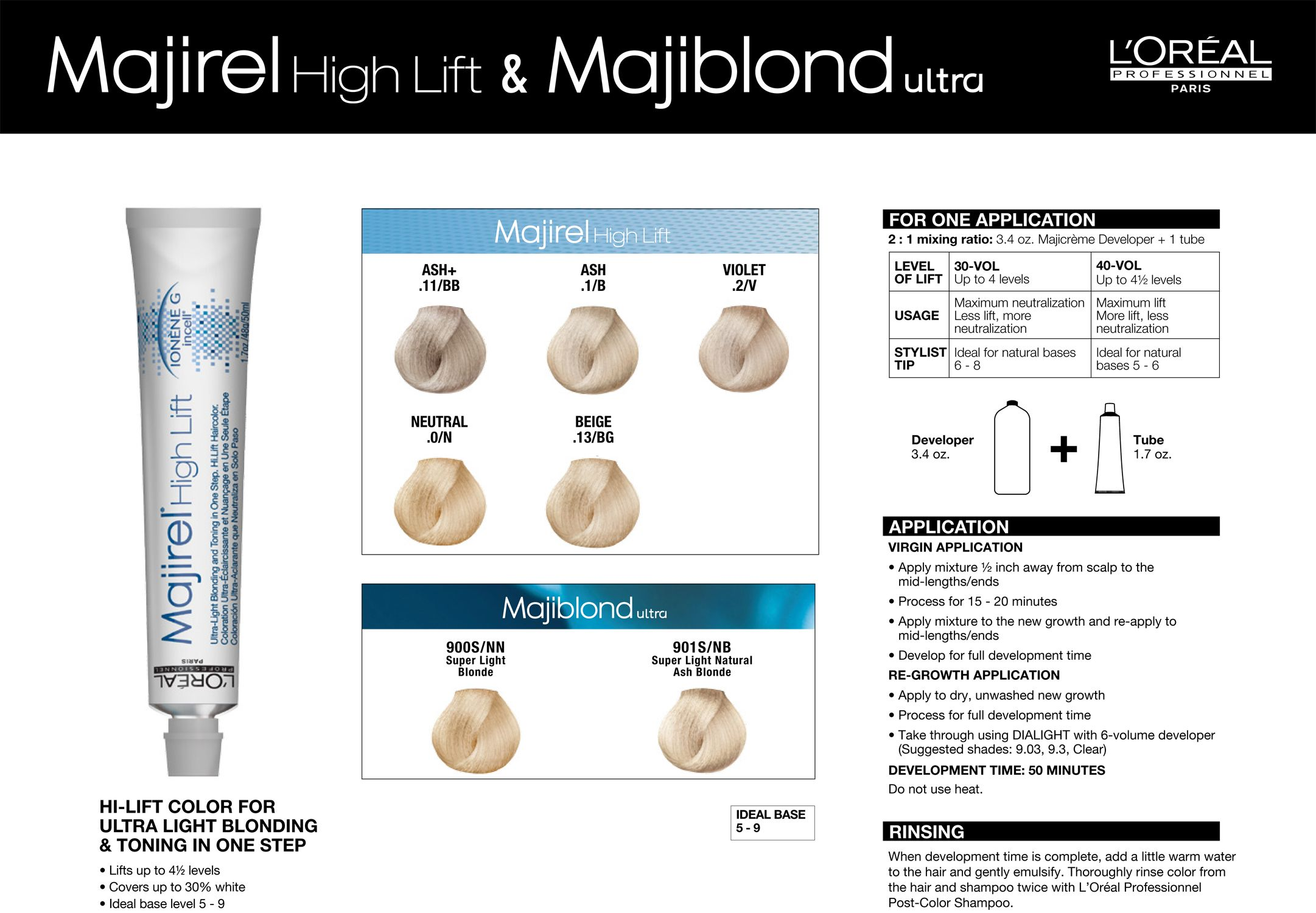 Majirel High Lift Majiblond Ultra Color Chart And Formulation Guidelines