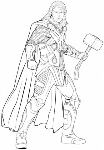 Avengers Thor Dibujo para colorear | Superheroe | Avengers