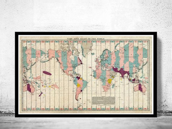 Old world map atlas time zone chart 1937 vintage by oldcityprints old world map atlas time zone chart 1937 vintage by oldcityprints sciox Image collections