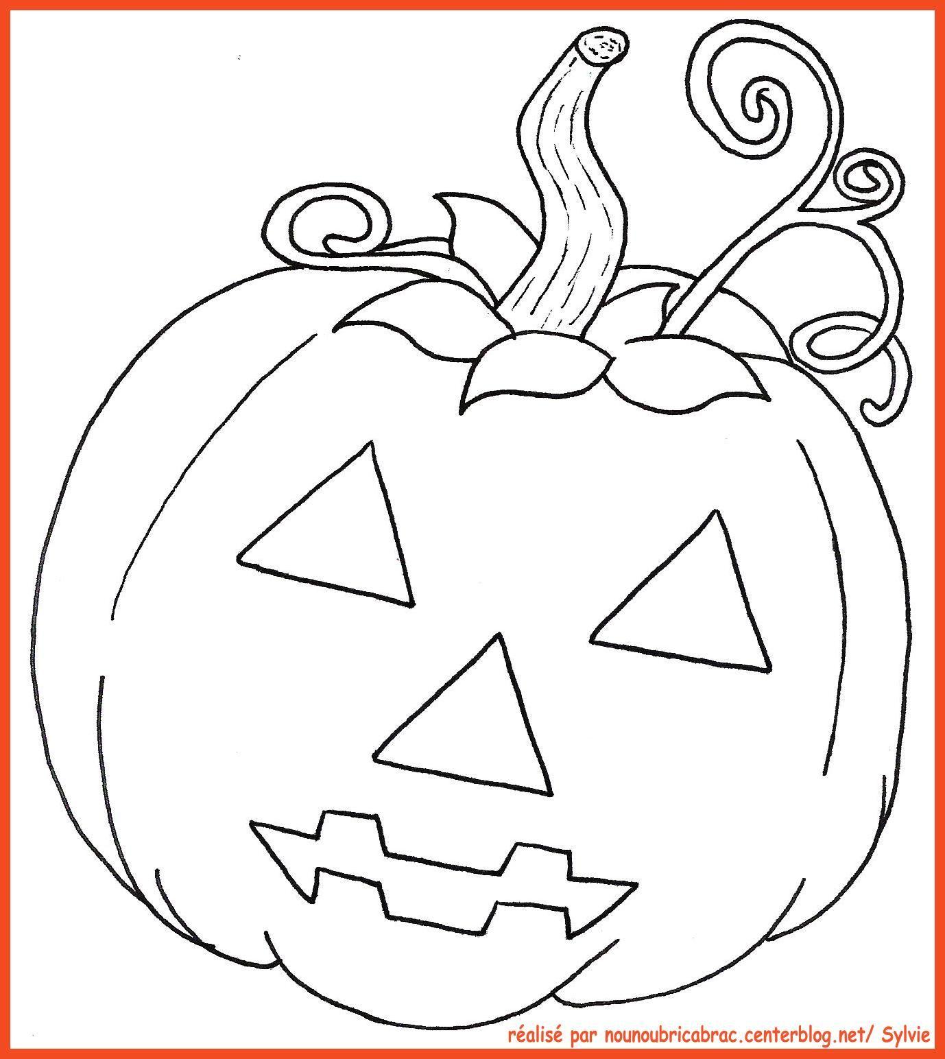 Citrouille avec visage... à colorier Dessin halloween