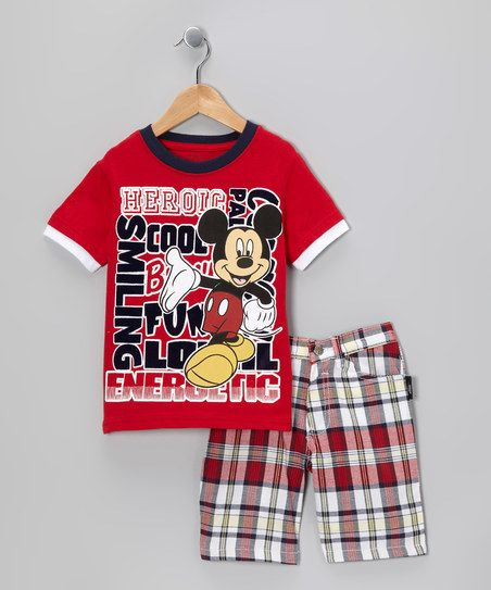 Disney Red Plaid Heroic Mickey Tee & Shorts - Infant & Toddler   zulily