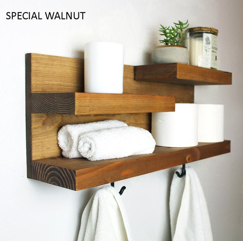 Bathroom Shelf Organizer With Towel Hooks Farmhouse Country Rustic Storage Modern Farmhouse Apartment Decor Guest Storage With Images Bathroom Storage Shelves Bathroom Organisation Diy Bathroom Storage