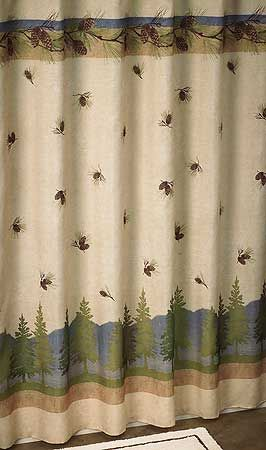 4047619111 Pinecone Shower Curtain Curtains Rustic Fabric Rustic Curtains