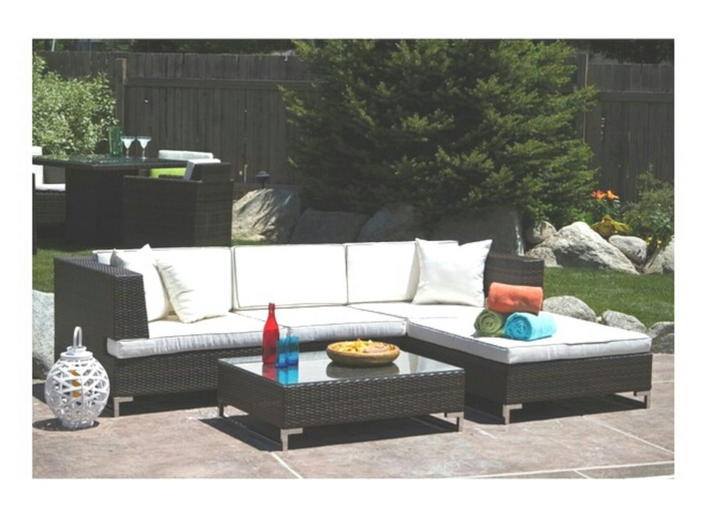 Wicker Outdoor Lounge Patio Furniture Set Ottoman Coffee Table Sofa Chair  New