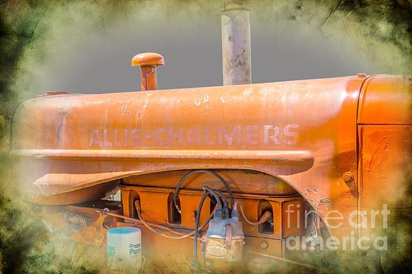 Allis Chalmers Tractors were work horses.  You'll find a good old tractor or power plant on any farm. This is one of a series of machine shop art images for the man-cave / den / or any place he calls his space. Any of these images or a set will make a great gift for the man of the house who has his own personal room.