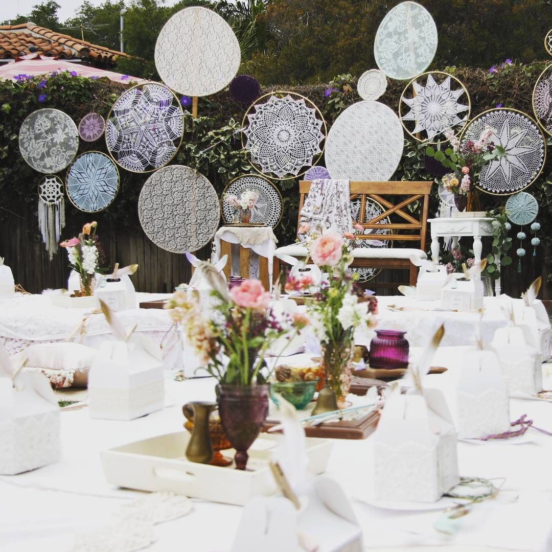 Design Vintage Theme Party Boho Romilove Backdrop With Dream Catchers And Wooden Pallets