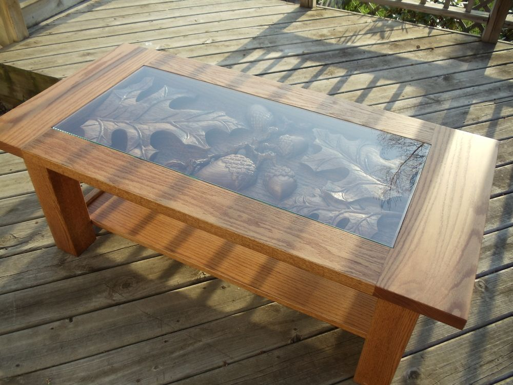 Rustic Oak Leaf Acorn Coffee Table, Nature Lovers Table, Cabin Or Cottage  Table, Hand Carved By Scott, Lazy River Studio