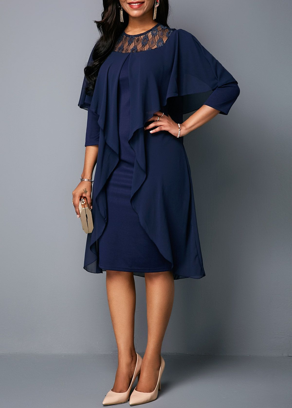e12c037bb4b Round Neck Three Quarter Sleeve Chiffon Dress | Rotita.com - USD $30.95