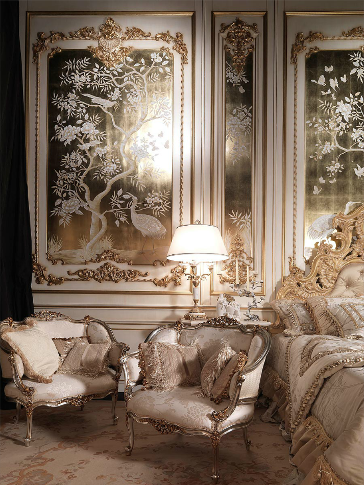 Ornate Bedroom Furniture And Wall Decor.