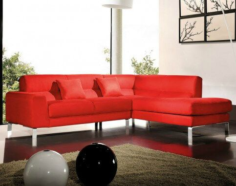 Here S A Smaller Red Microfiber Sectional Sofa With Chrome Legs This Is A Great Sectional For Smaller Living Room Red Black Living Room Red Living Room Decor