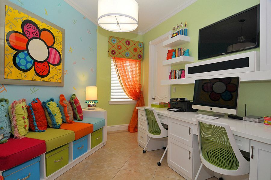 Small home office and playroom combo with plush seating for Dining room office combo design ideas