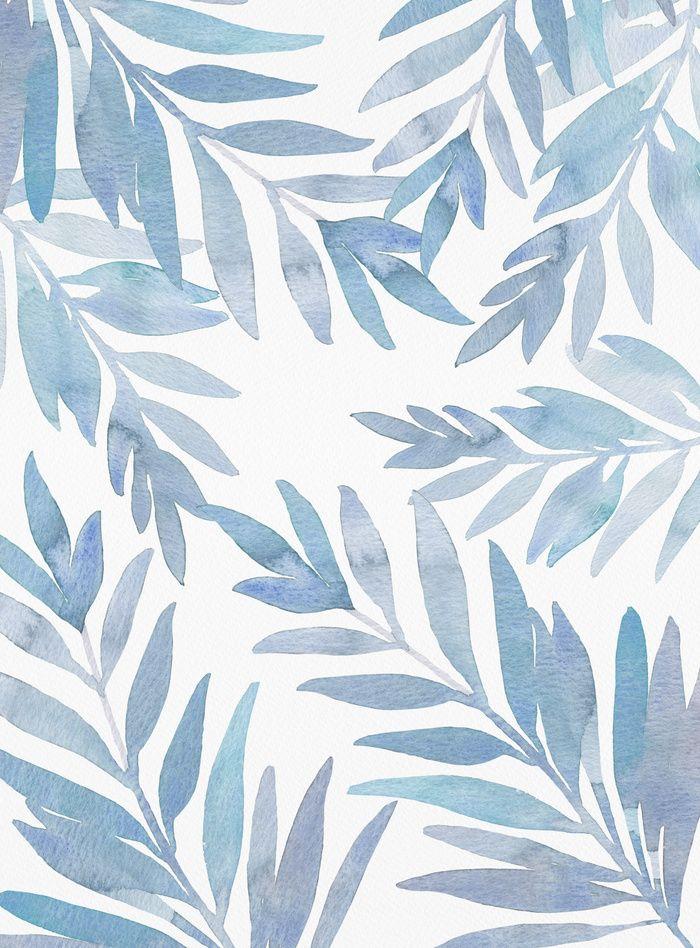 Muted Blue Palm Leaf Pattern Art Print Blue Palm Leaves Watercolor Palm Leaves Tropical Print Ocean Print Watercolor Wallpaper Leaf Art Palm Leaf Art
