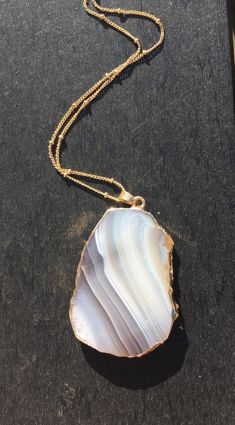 Agate Pendant Gold Edge Stone Natural Healing White Etsy White Jewelry Agate Pendant Gold Pendant