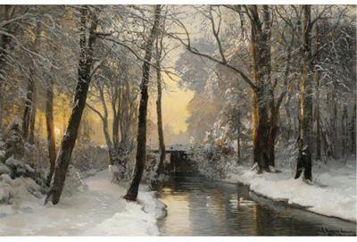 Anders Andersen-Lundby (1840-1923): Winter Woodland at Dawn