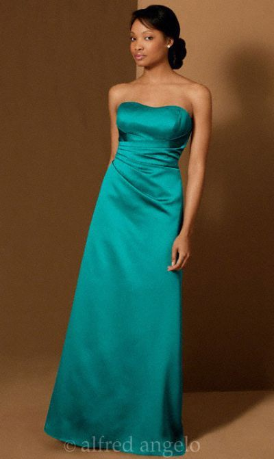 efca6555d97 Alfred Angelo Long A-Line Satin Bridesmaid Dress 6493 - French Novelty