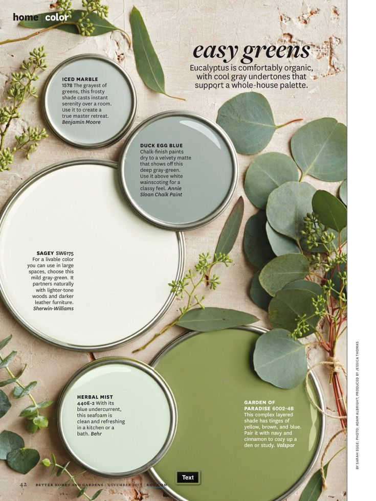 Easy Greens From November 2017 Issue Of Better Homes And Gardens Green Paint Colors