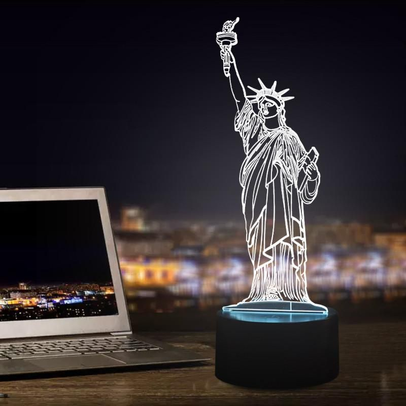 Statue Of Liberty Shape 3d Led Lamp In 2020 Dekoration Deko