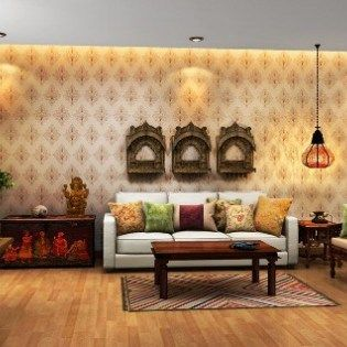 Modern Indian Living Room With Ethic Furniture And Decoration Rh Pinterest  Com Modern Living Room Wall