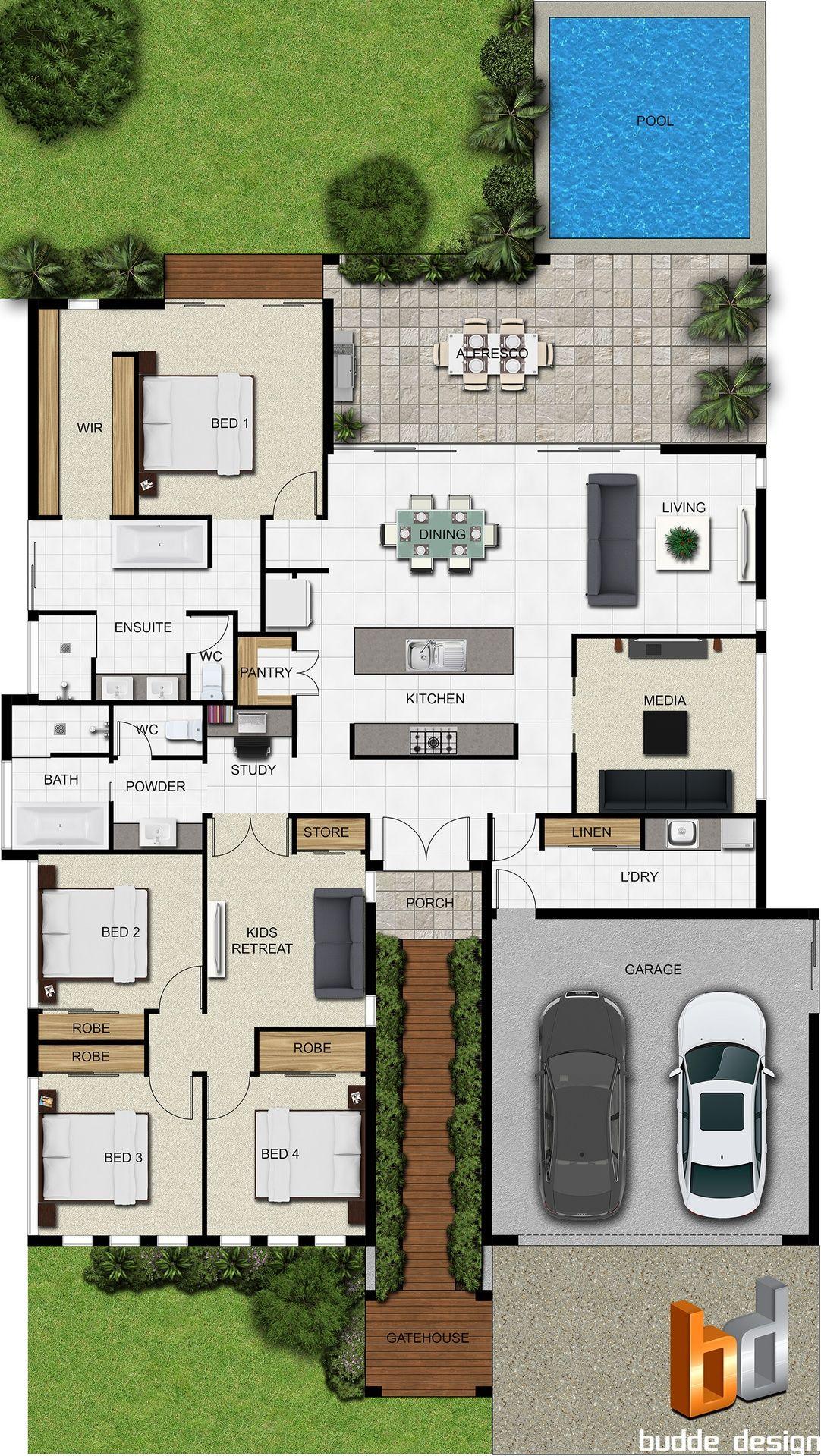 Pinterest claudiagabg casa 4 cuartos 1 estudio abierto for Planos de casas con piscina y jardin