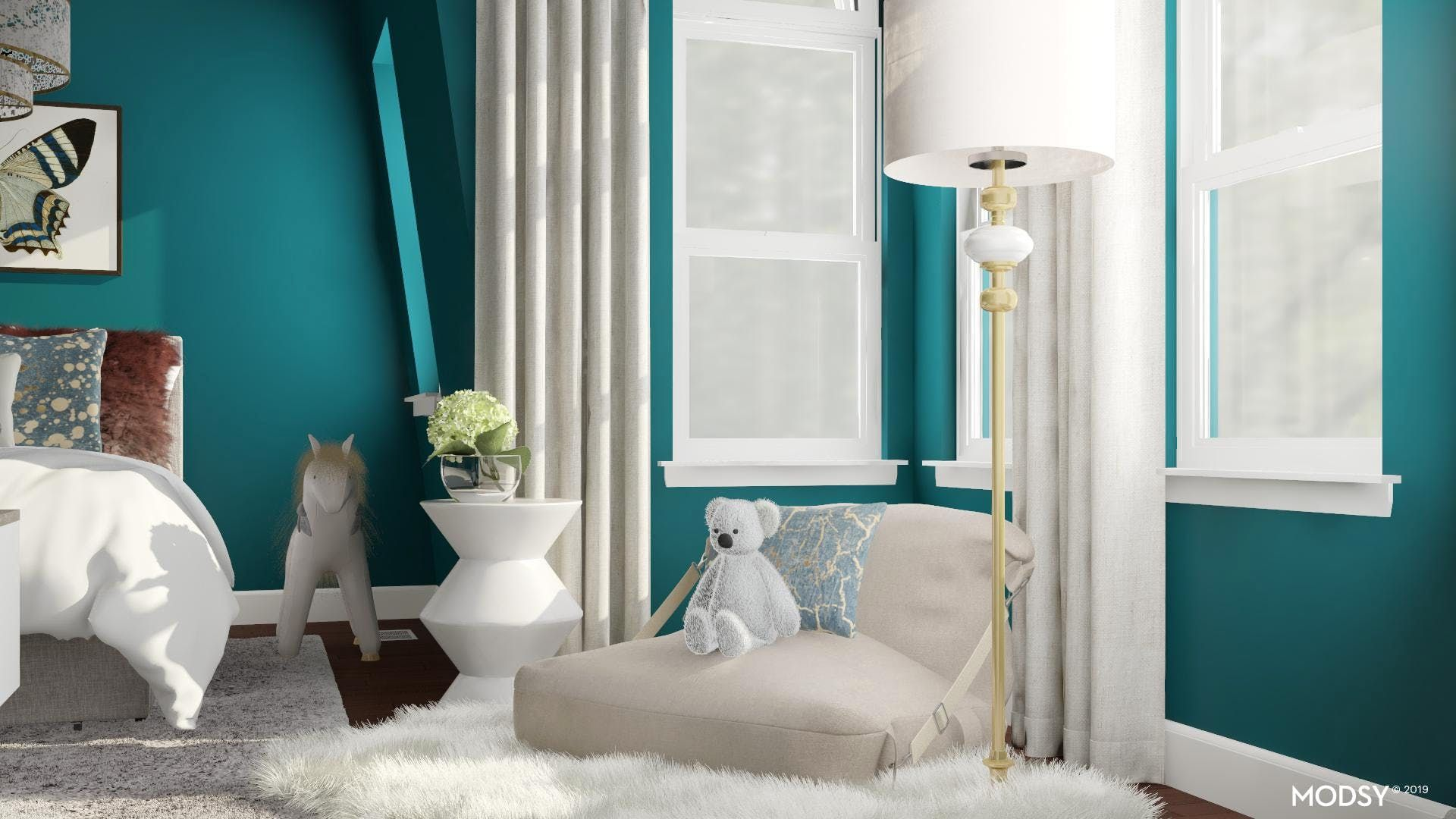 Design Ideas And Styles From Modsy Designers In 2020 Kids Room Design Modern White Living Room Room Design #teal #and #burgundy #living #room