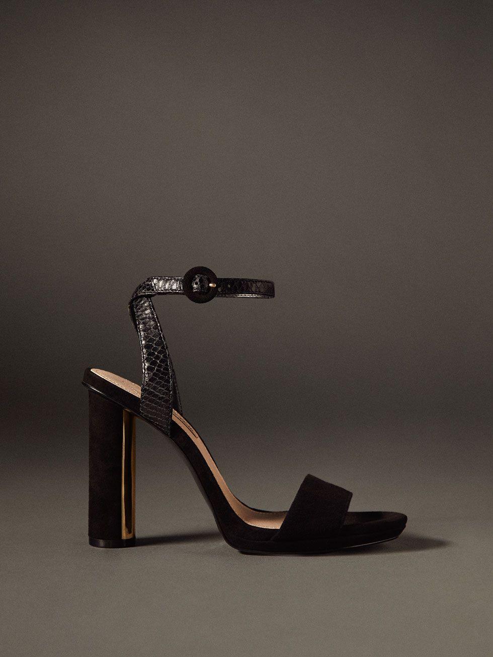 Tacón Sandalia Negro Piel De Laminado Zapatos Todo Mujer Ver dxohCtQrsB