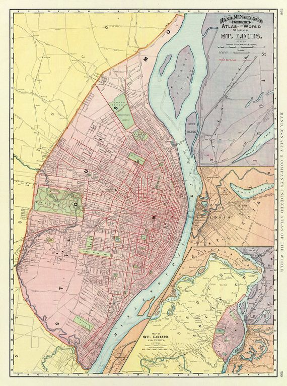 Vintage maps St Louis map 28 x 375 Print by AncientShades 6800