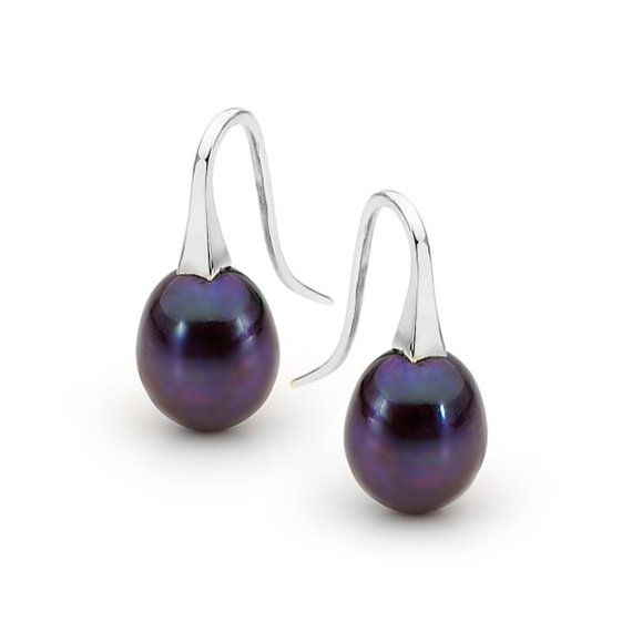 Sterling Silver big Black Pearl drop Earrings by argentonDesign