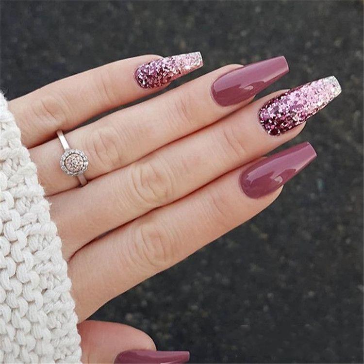 Elegant Purple Glitter Coffin Nails For Summer