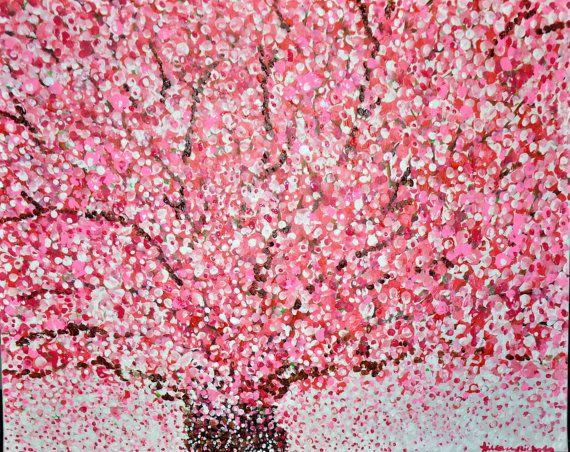 Cherry Blossom Tree Tree Art Pointillism Cherry Blossom Tree