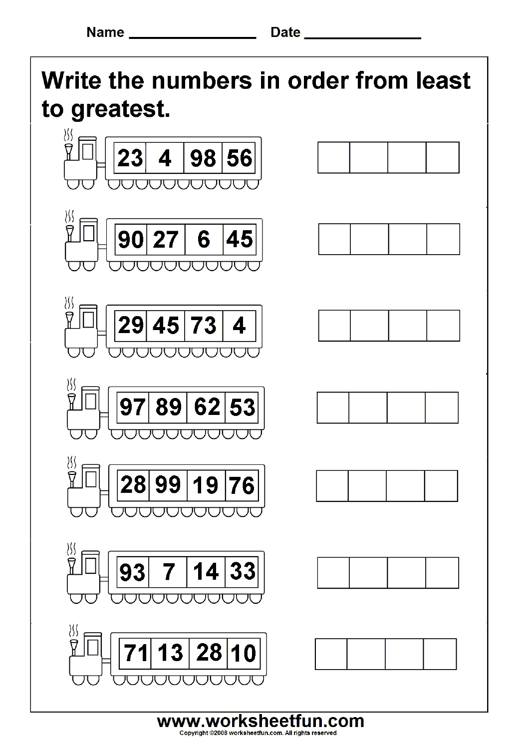 Least to greatest numbers – 4 Worksheets   First grade math worksheets [ 1492 x 1054 Pixel ]