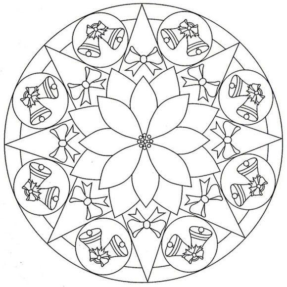 Bell Mandala Coloring Pages Mandalas Navidenas Mandalas Para Colorear Ninos Mandalas De Navidad