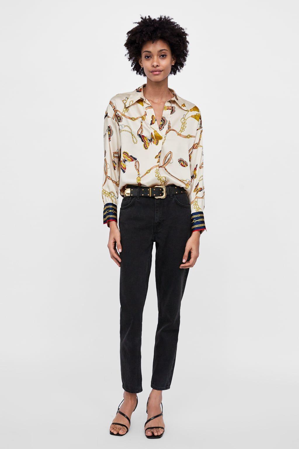 super pas cher se compare à meilleur authentique prix pas cher Image 1 de BLOUSE IMPRIMÉE CHAÎNES de Zara | black friday en ...