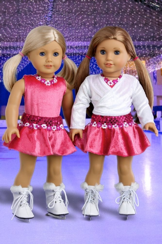 Ice Skating Girl - 2 in 1 Hot Pink Outfit Set for 18 inch American Girl Doll #DreamWorldCollections