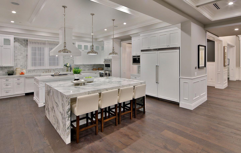 Modern White Marble Floor Kitchen Novocom Top