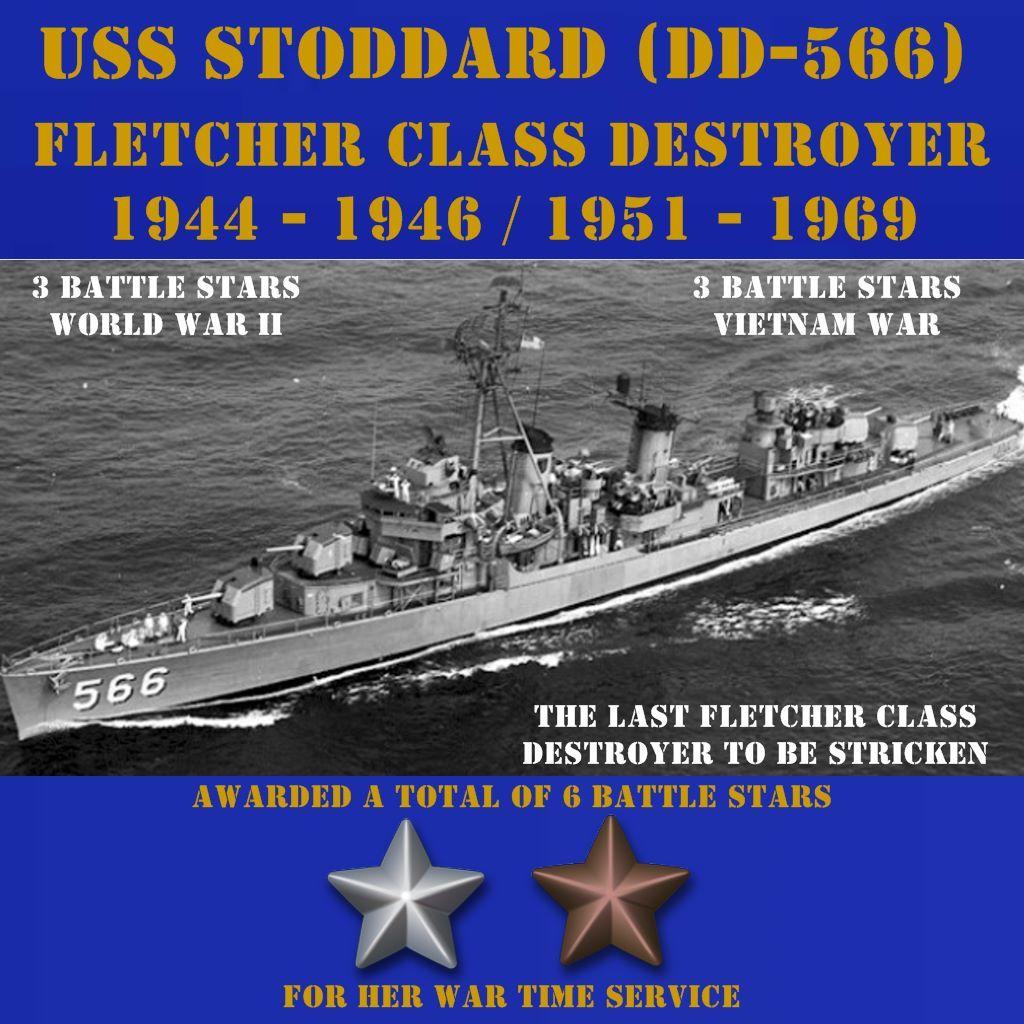 USN Navy Ship USS STODDARD DD 566  Photo Canvas Print