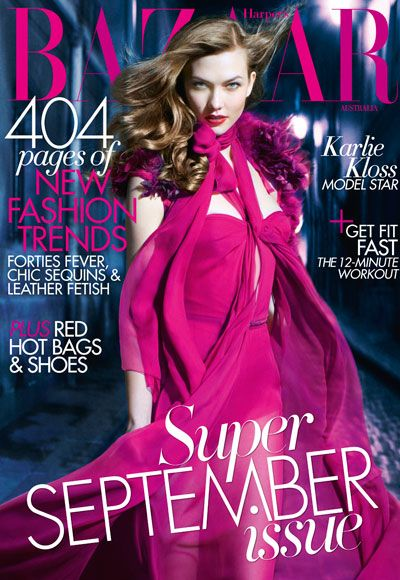 #KarlieKloss in #Gucci on the cover of #Bazzar