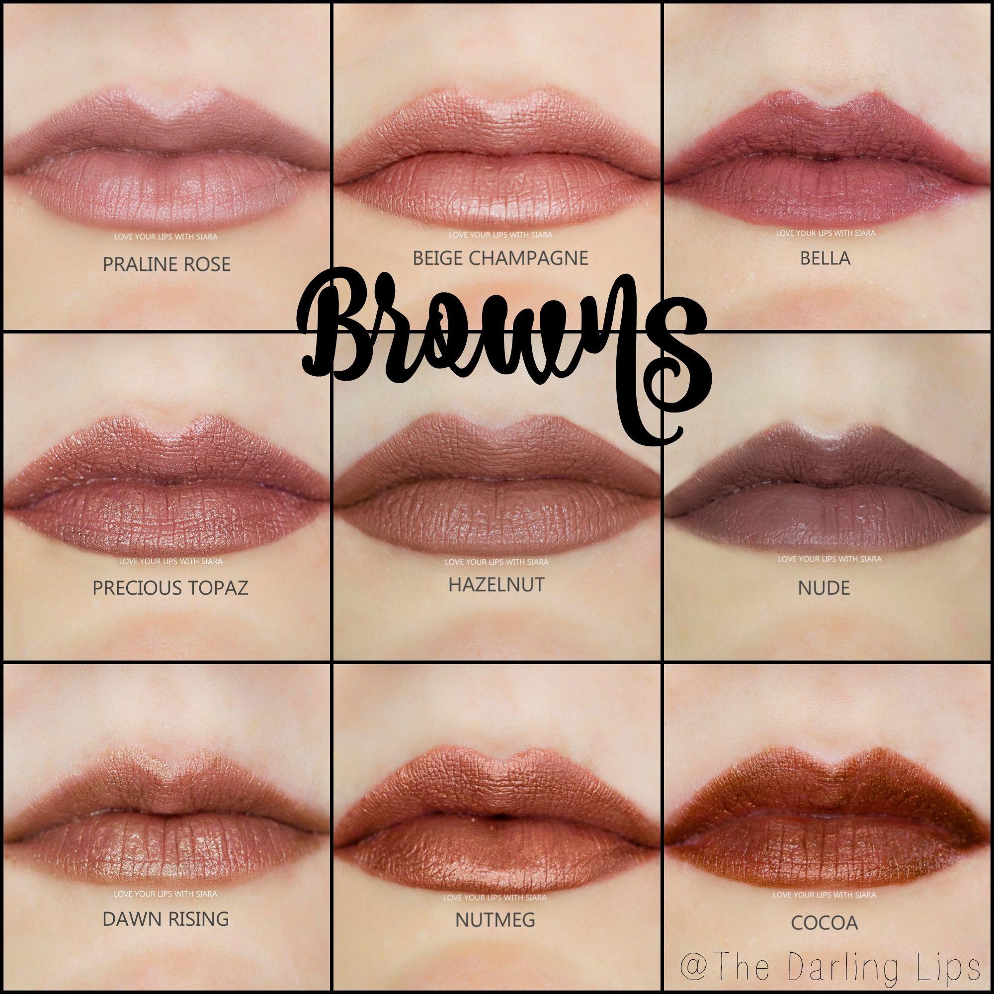 Lipsense Brown Color Profile Collage Praline Rose Beige Champagne