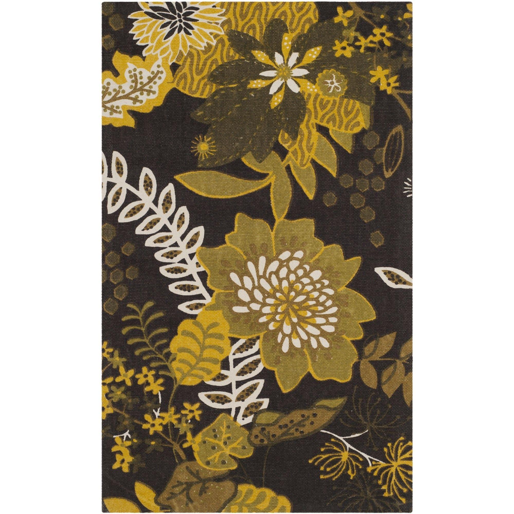 Cedar Brook  Brown / Citron Floral Rug