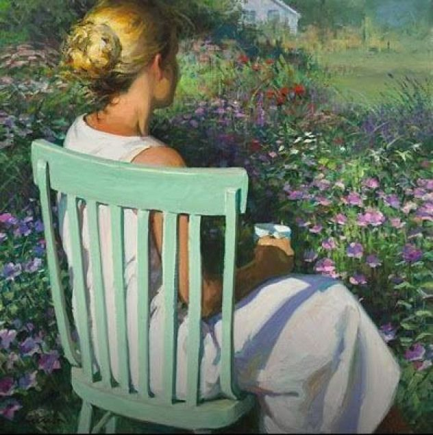 Tomorrow Is A New Day Green Chair by Jeffrey T. Larson woman overlooking meadow ...,  #chair #Day #Green #Jeffrey #Larson #meadow #overlooking #Tomorrow #woman