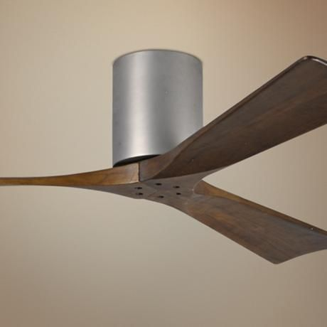 52 Matthews Irene 3h Blade Walnut Nickel Hugger Ceiling Fan