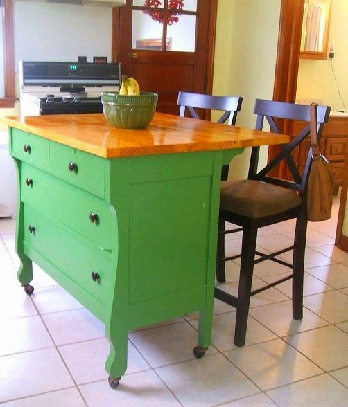Upcycled Awesome Kitchen Islands Made From Old Dressers Rustic Kitchen Island