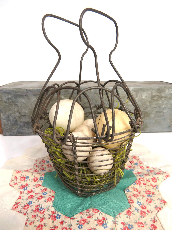 Vintage Wire Egg Basket, Folding Handle, Primitive, Easter, Spring ...