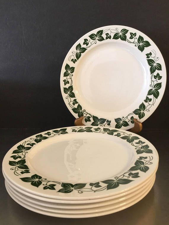 Homer Laughlin Dinner Plates Green Ivy Set of 6 Made in USA Replacement China & Homer Laughlin Dinner Plates Green Ivy Set of 6 Made in | Pine ...